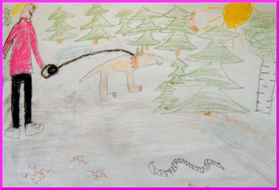 Barnvaktningen resulterade också i att Bertram ritade en teckning av mig och morsan på promenad.
