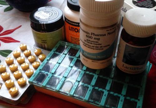 Sju piller om dagen delat i dosett - inget syntetskit, bara koncentrerad mat i kapselform. Funkar fint för vildisar.